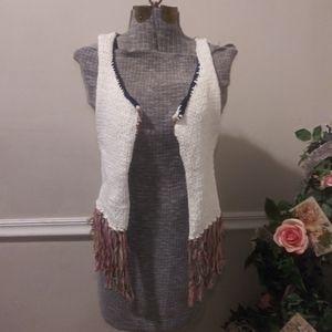 ❤Gimmicks By BKE Boho White/Multi Crocheted Vest